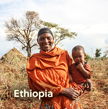 Local Ethiopian father carrying son, standing in a field