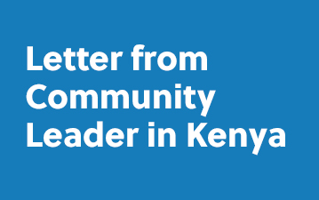Letter from Community Leader in Kenya