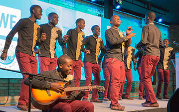 The Kenyan Boys Choir perform in the Hartley T. Richardson Empatheatre at the WE Global Learning Center