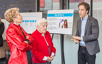 Kathleen Wynne, Hazel McCallion and Craig Kielburger  take a tour of the WE Global Learning Center