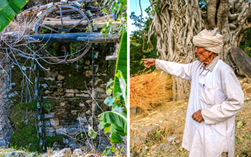 Left and centre: The old well. Right: Kharta Ram gestures near his home.