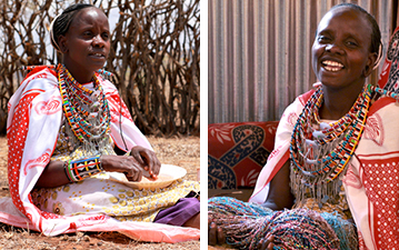Left: Mama Toti beads. Right: Mama Toti smiles in her home.