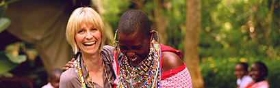 Roxanne Joyal laughing with a local ME to WE Artisan in Kenya