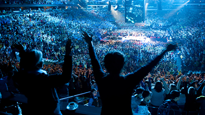 Filled stadium at WE Day event