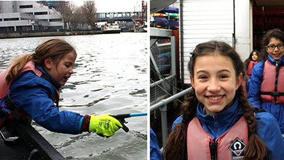 Left: A child fishes for plastic. Right: A child smiles.