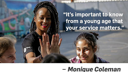Quote: It's important to know from a young age that your service matters. Unquote. Monique Coleman.