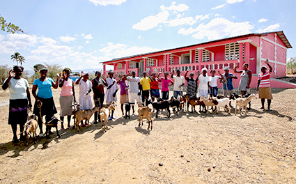 Goat farmers in Haiti