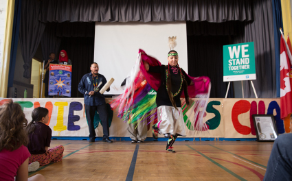 A sacred dance during a school's WE Stand Together campaign