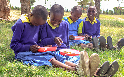 Kenyan students during their lunch break