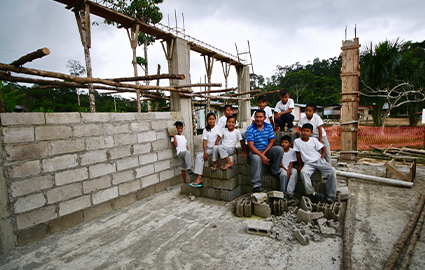 Locals at a school building site