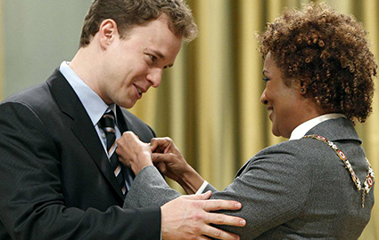 Marc Kielburger is awarded the rank of Member in the Order of Canada by Governor General Michaelle Jean