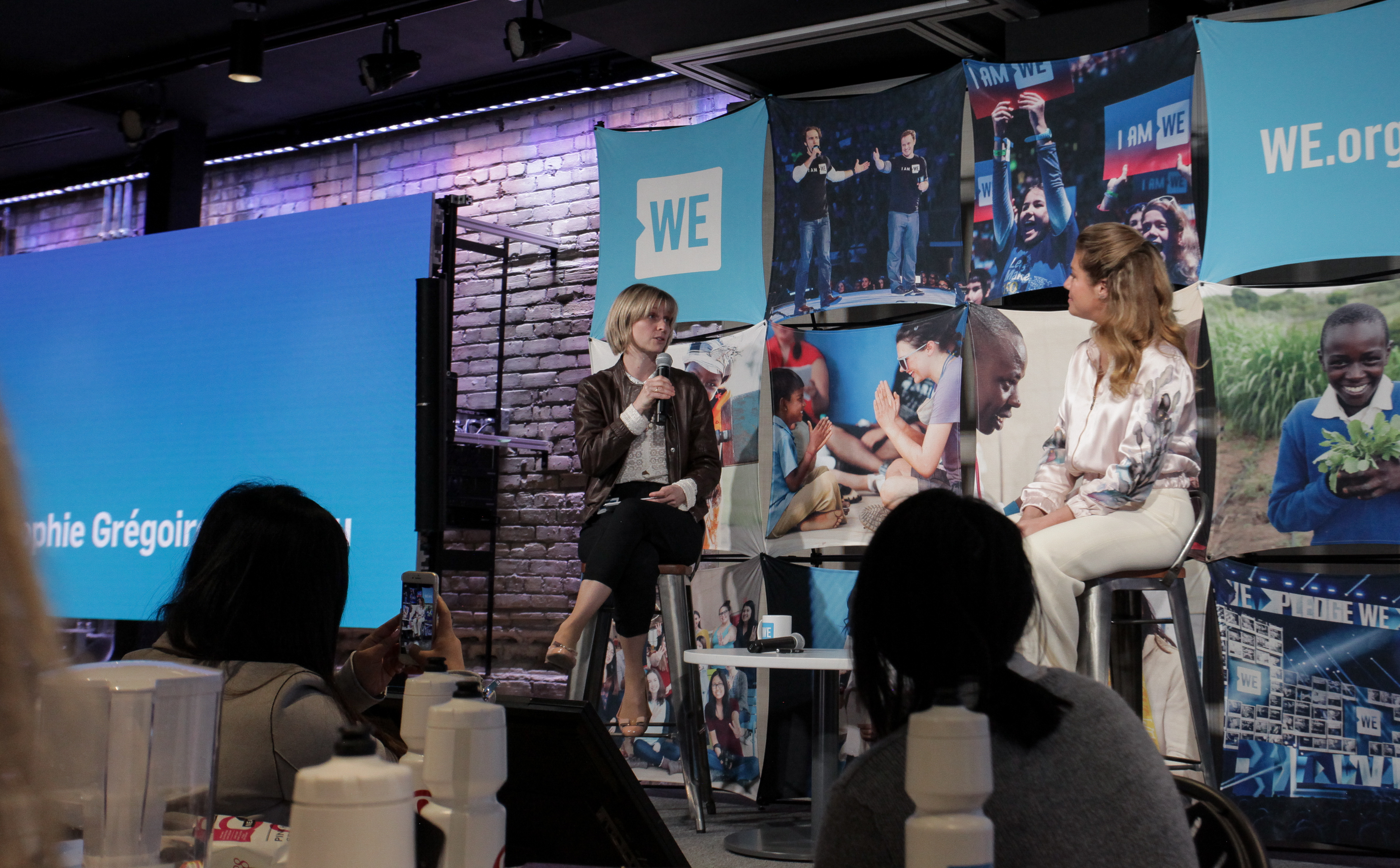 Roxanne Joyal and Sophie Grégoire Trudeau speaking at the WE Global Learning Center