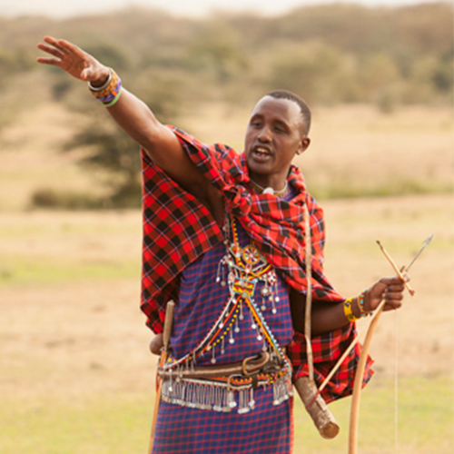 Maasai Warrior training in the savanna