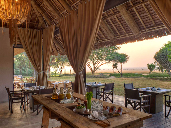 Interior of dining hall at Kichwa Tembo Tented Camp