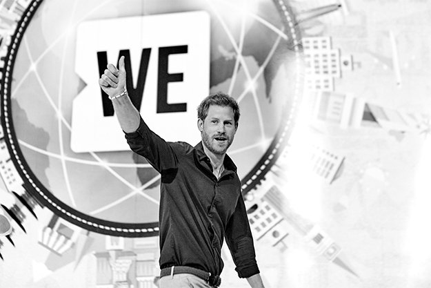 Prince Harry on stage at WE Day.