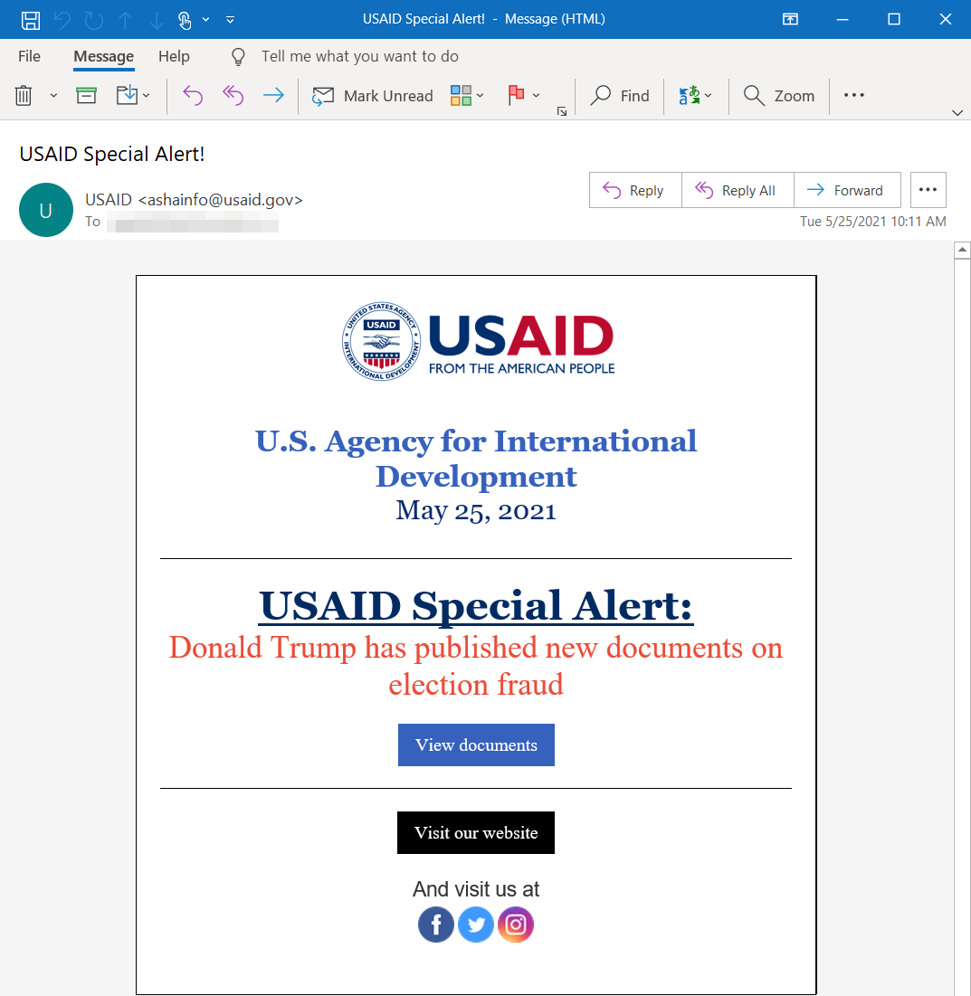 USAID email spoof from NOBELIUM