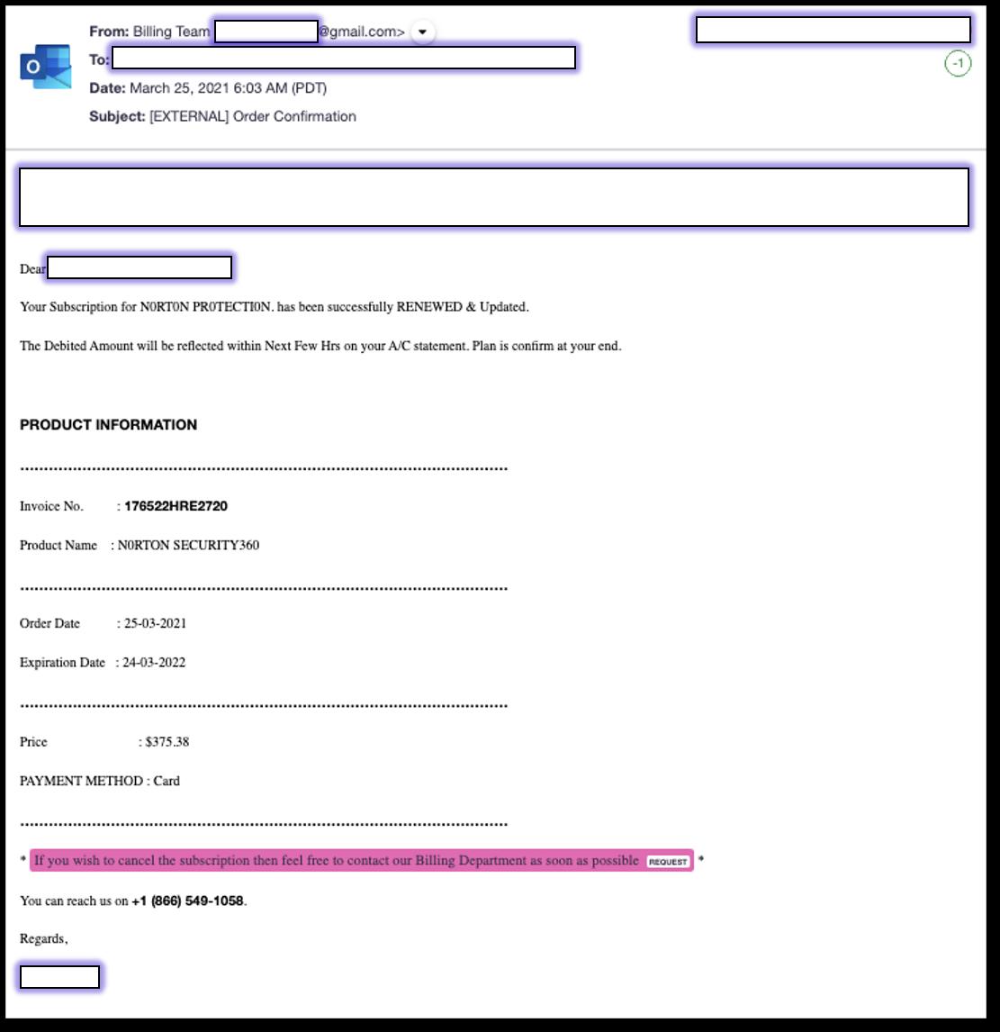 Norton vishing email