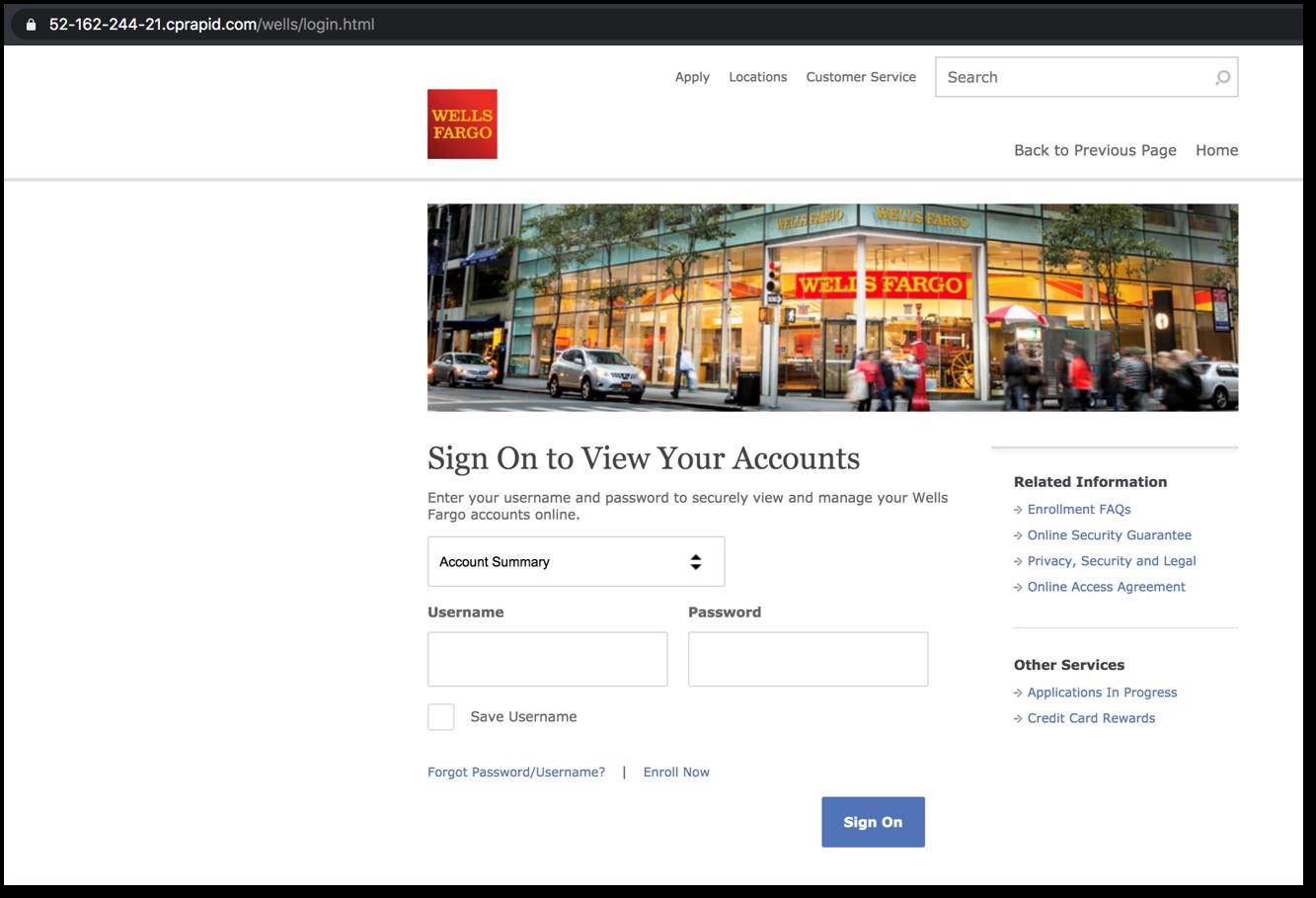 Wells Fargo phishing page final