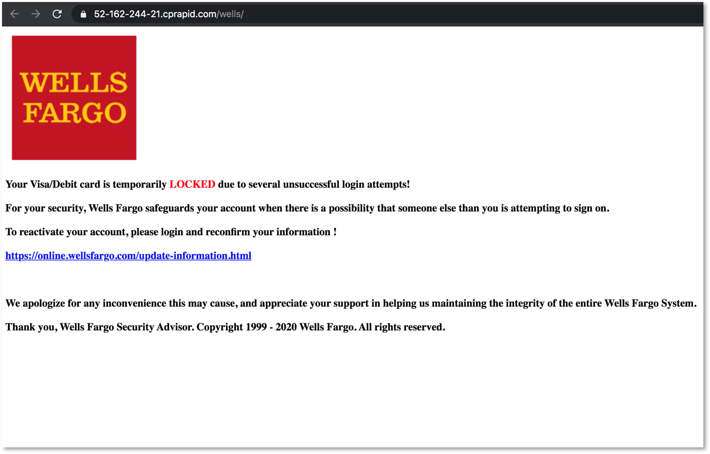 Wells Fargo locked account page