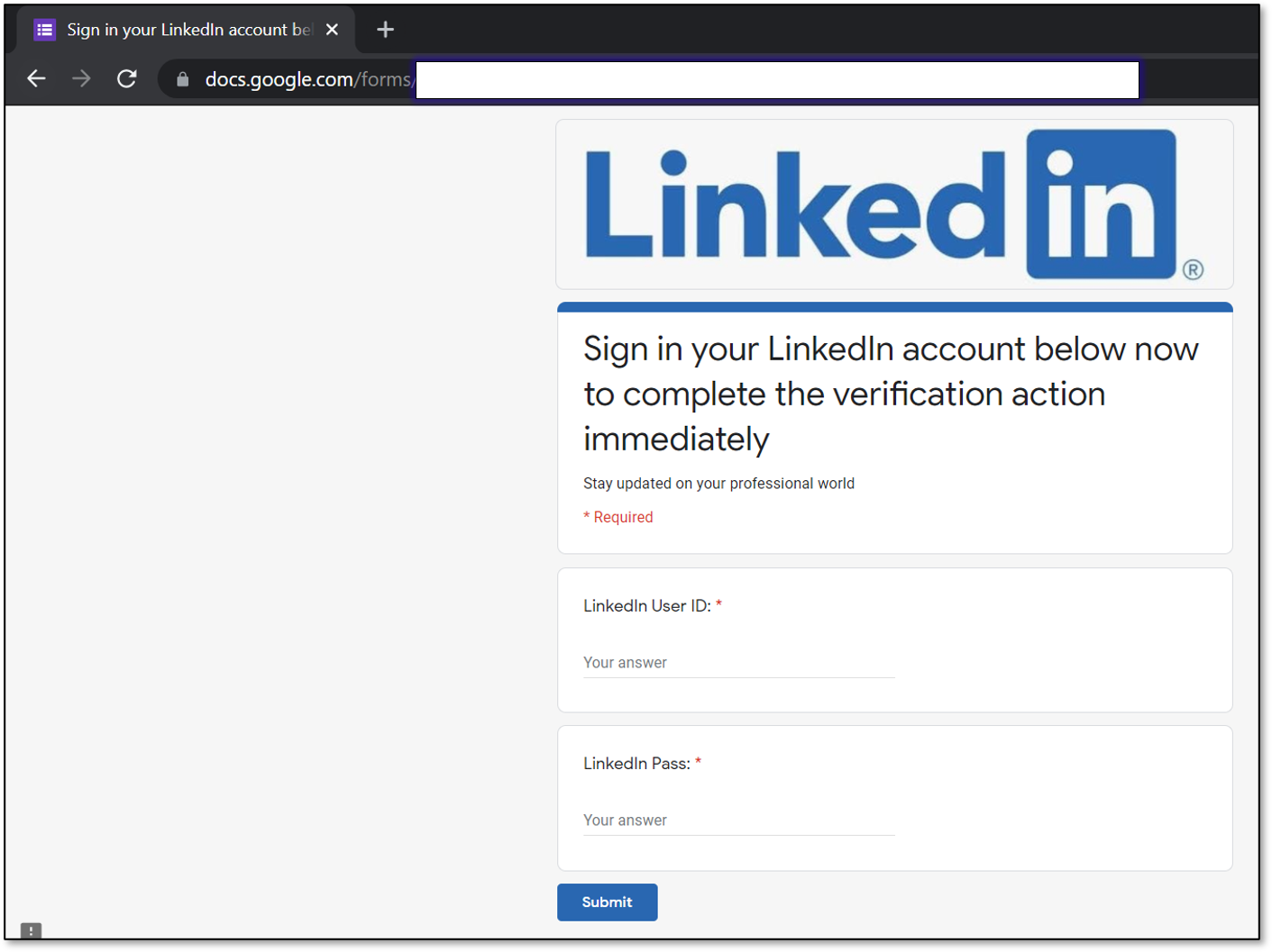 LinkedIn phishing page hosted on Google Forms