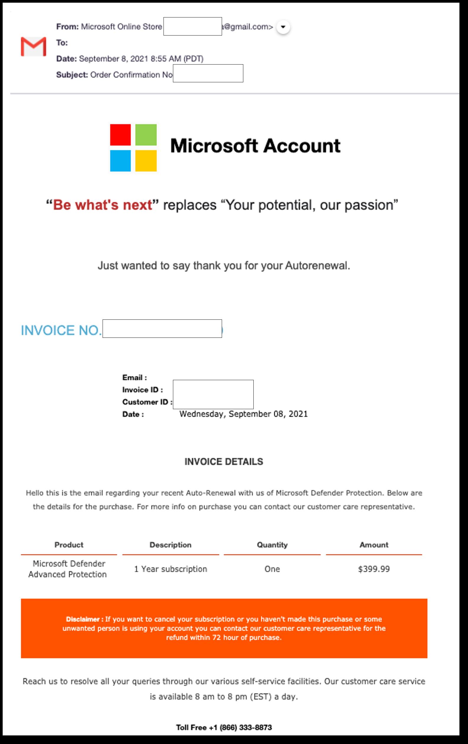 Microsoft Defender vishing email 1