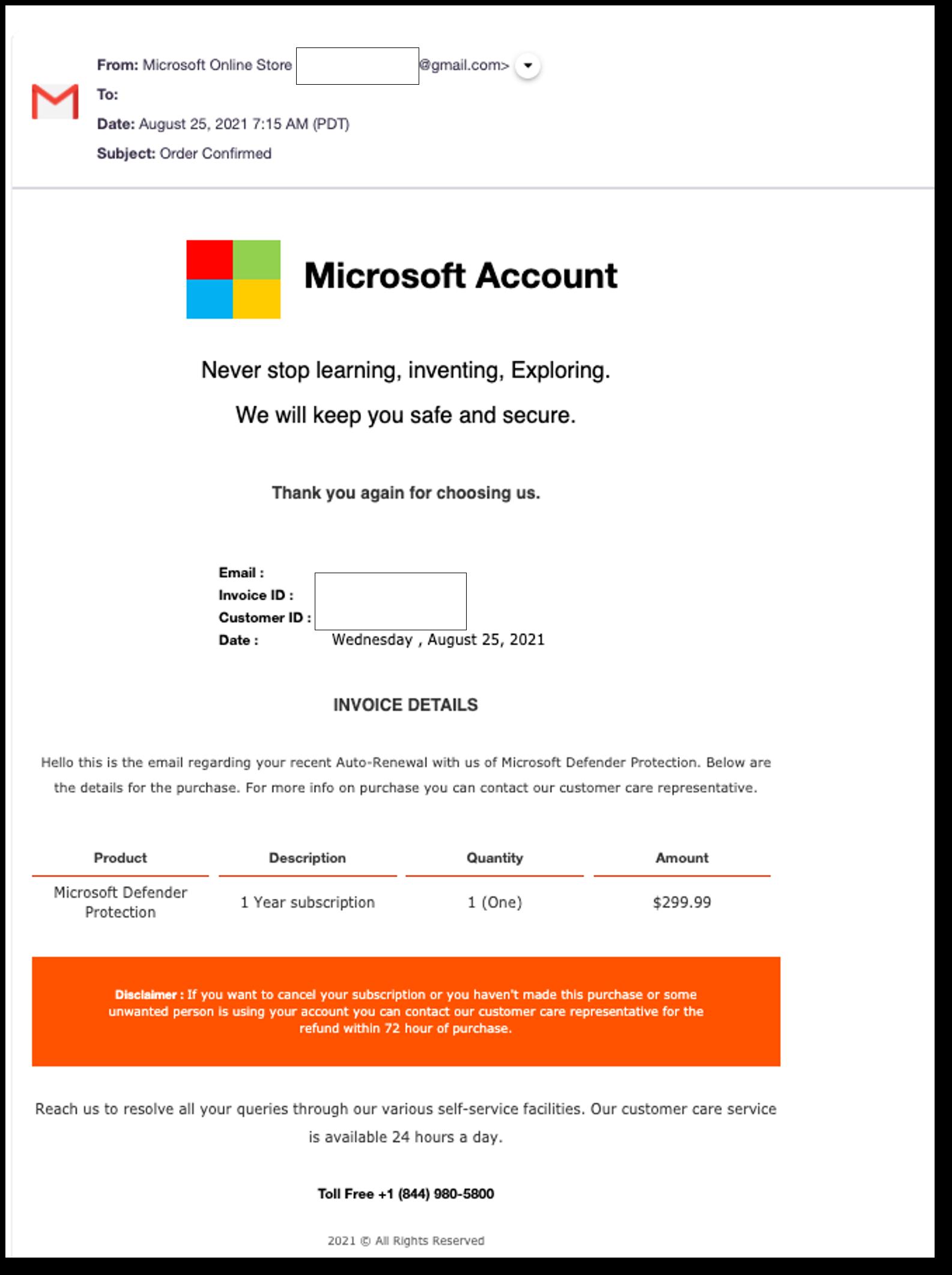 Microsoft Defender vishing email 2