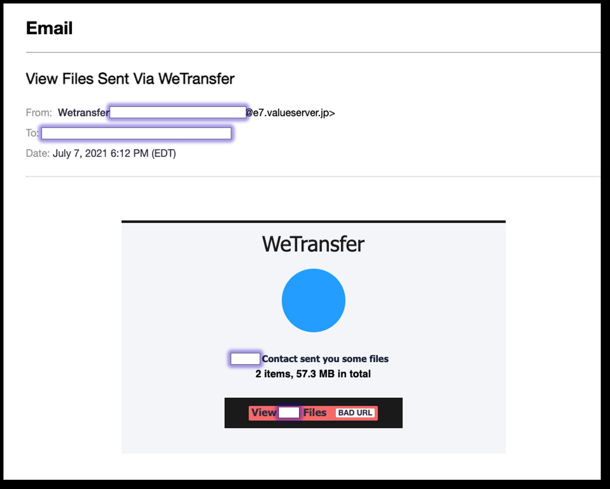 WeTransfer phishing email