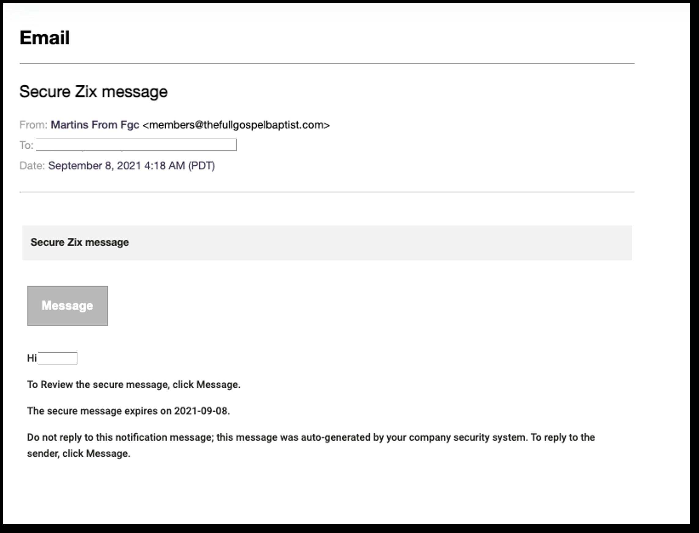 Zix phishing email screenshot