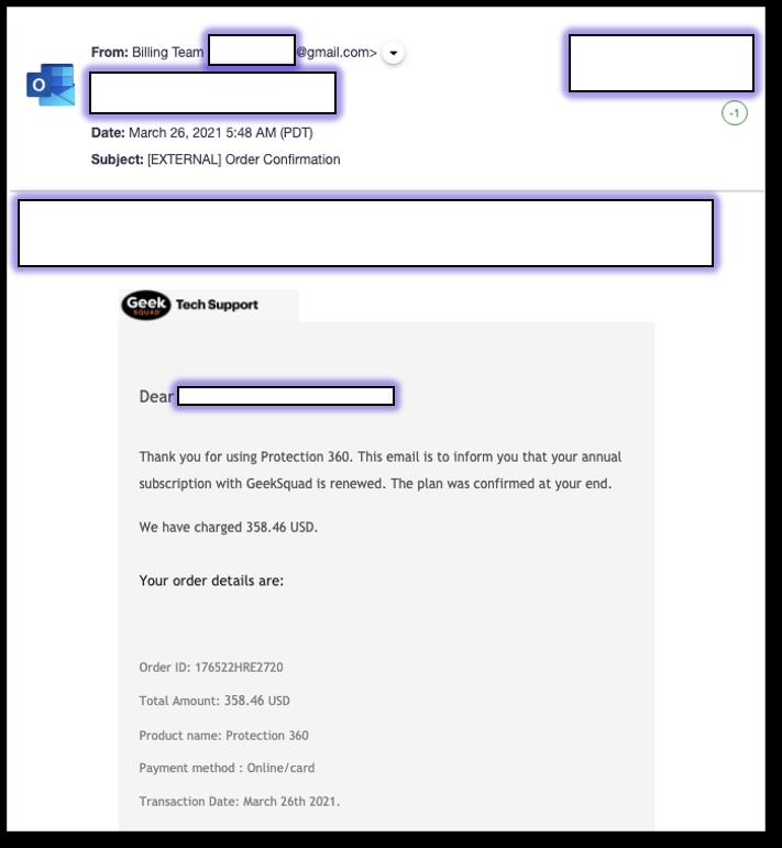 Geek Squad vishing email