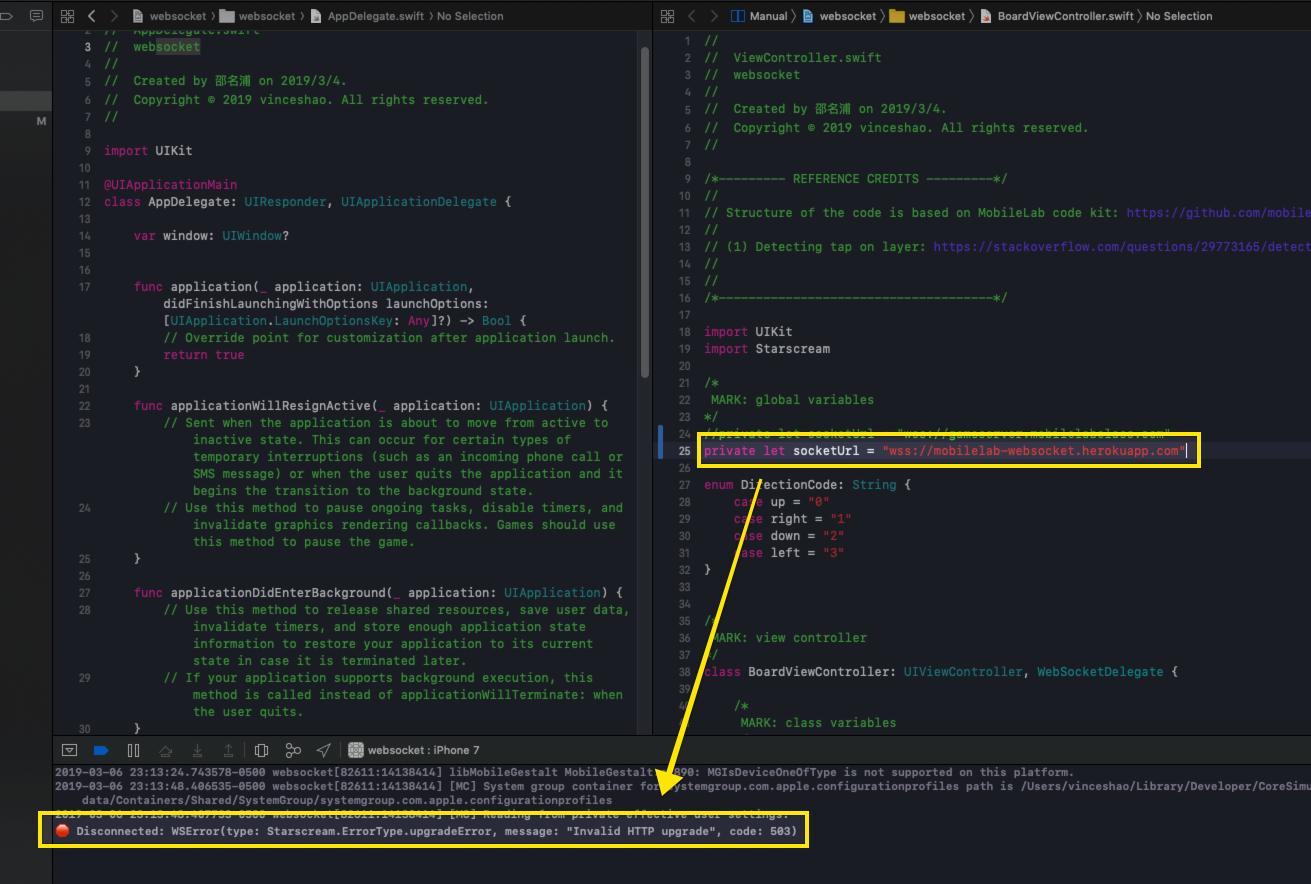 MobileLab: WebSocket interaction and failed server - Vince MingPu Shao