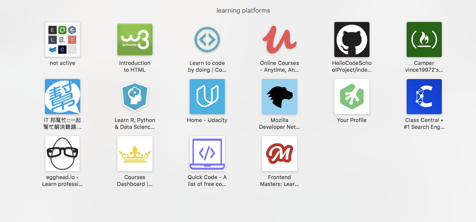 My bookmarks of learning platforms in Safari