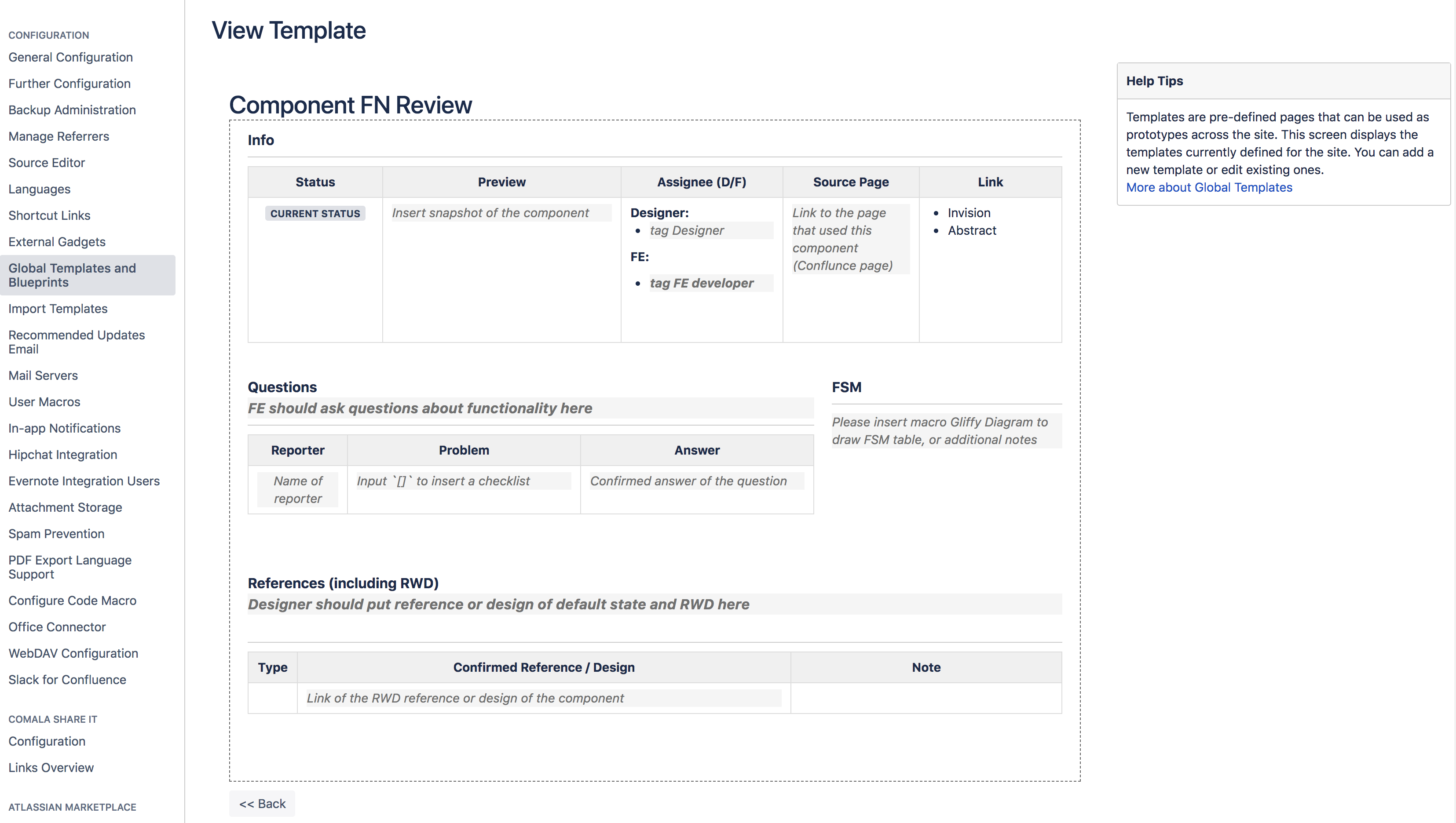 custom template for component review in Confluence