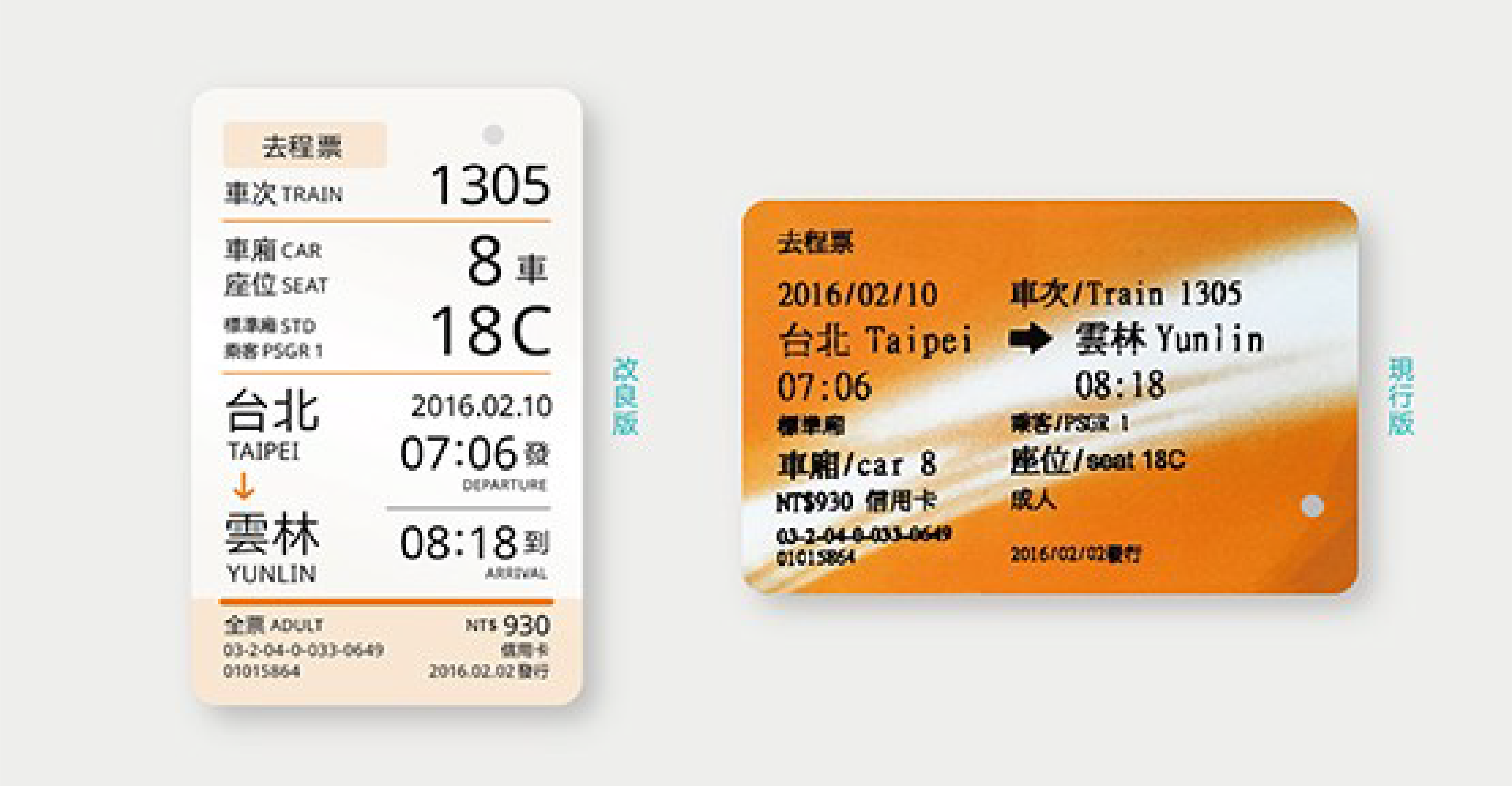 Experimental train ticket