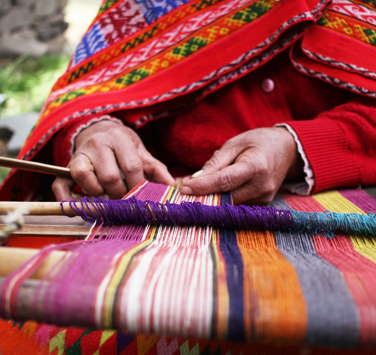 Traditional weaving by villagers of the Sacred Valley, Peru
