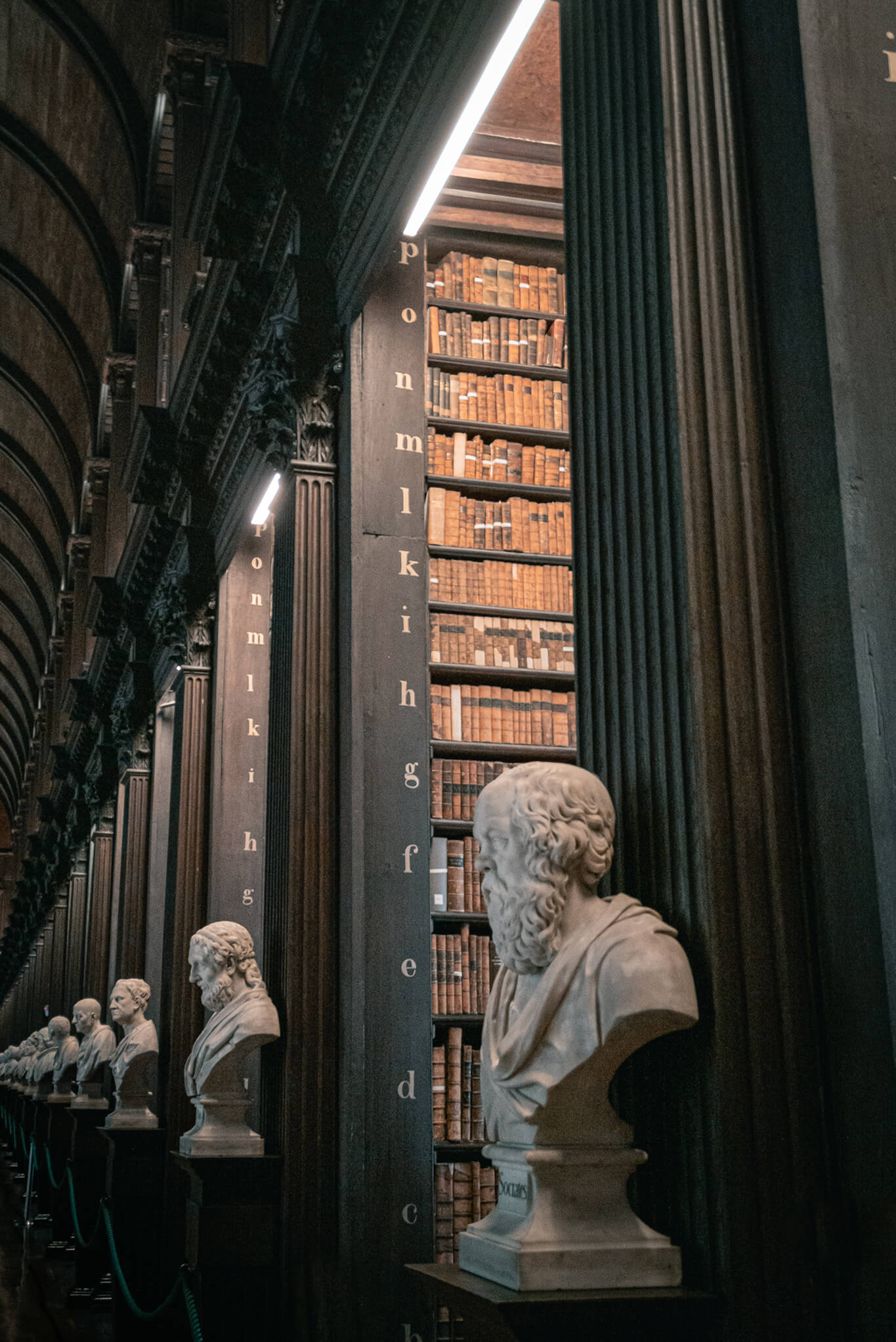 tall black bookshelves and statues in trinity college library