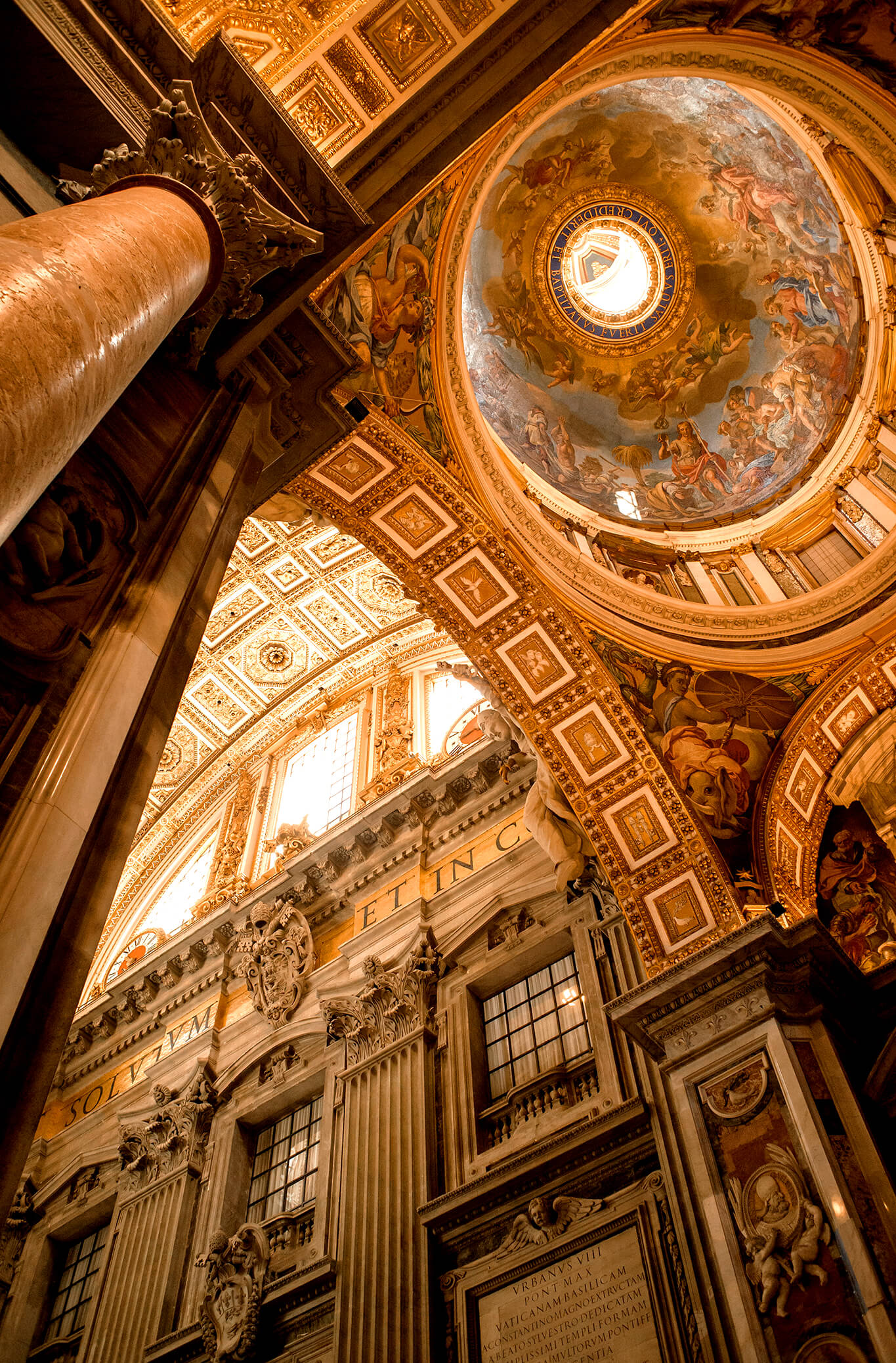 The ceiling of Saint Peter's Basilica in Venice, Italy