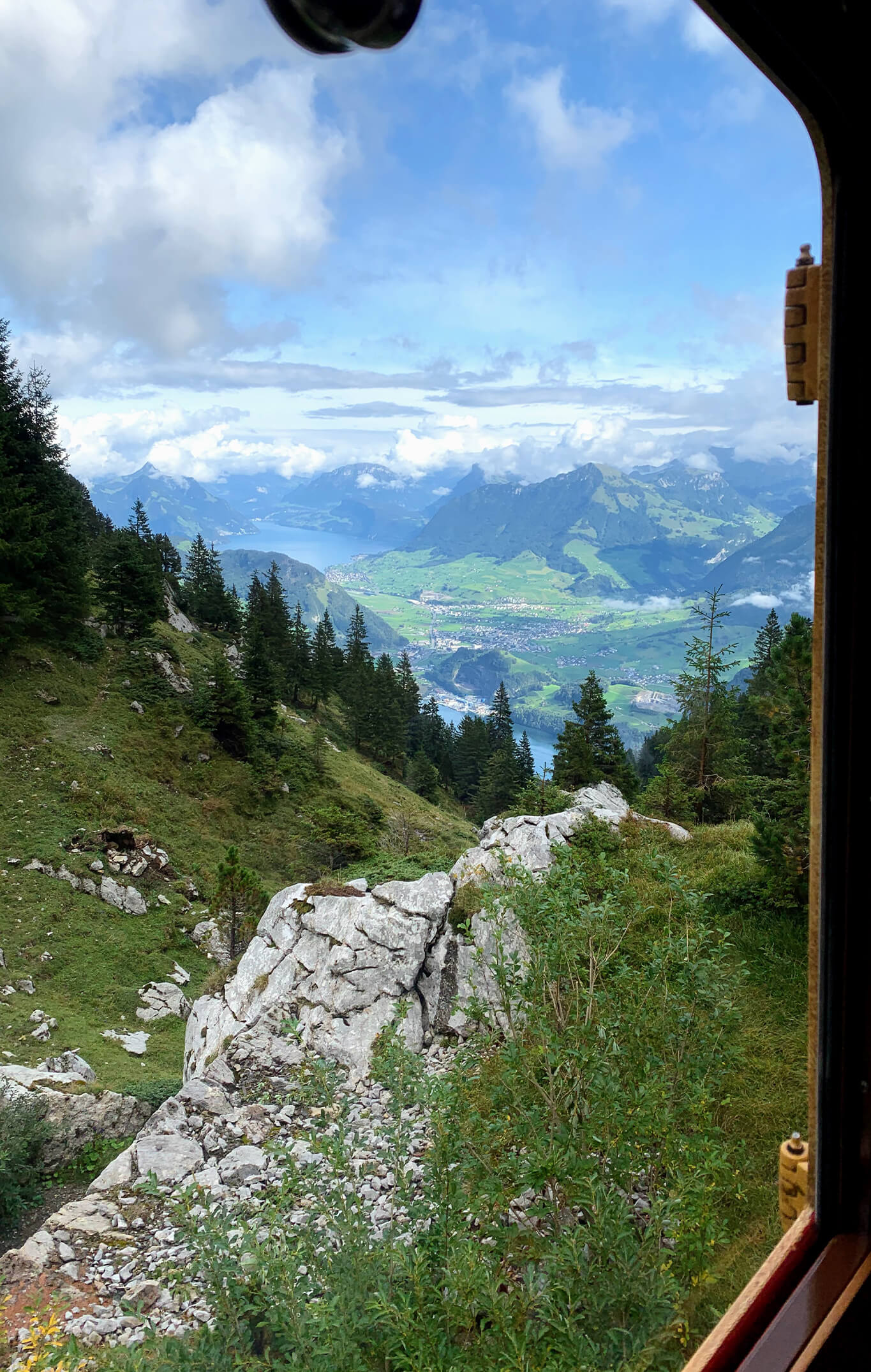 looking out a train window on mt pilatus