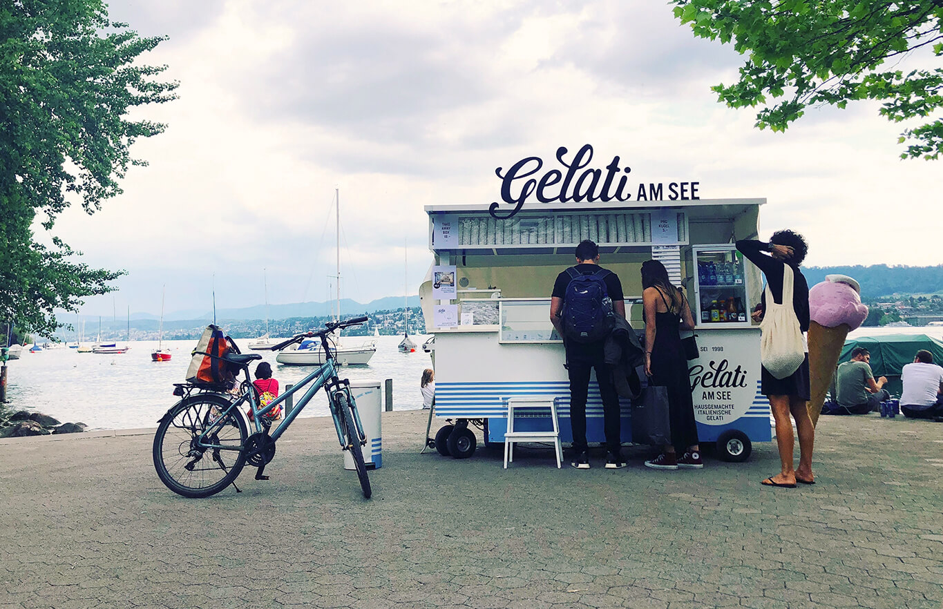 people at a gelato stand in zurich