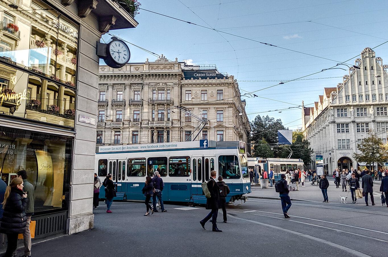 bahnhofstrasse shopping street in zurich