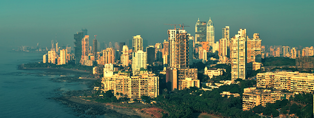city skyline of mumbai india along the coast