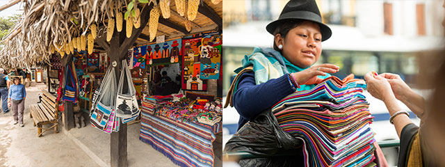 collage of woman selling fabric and outdoor market in quito ecuador