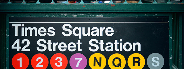subway sign for stop at times square and 42 street