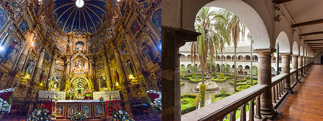 collage of church in quito and patio in ecuador