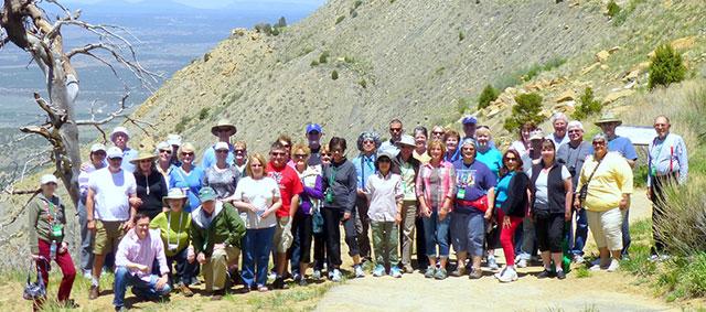 group of travelers at mesa verde national park