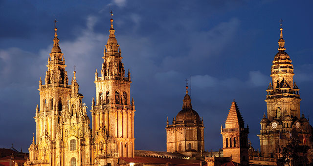 cathedral of santiago de compostela in northern spain lit up at night