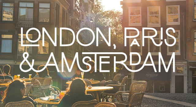 white text overaly saying london paris and amsterdam