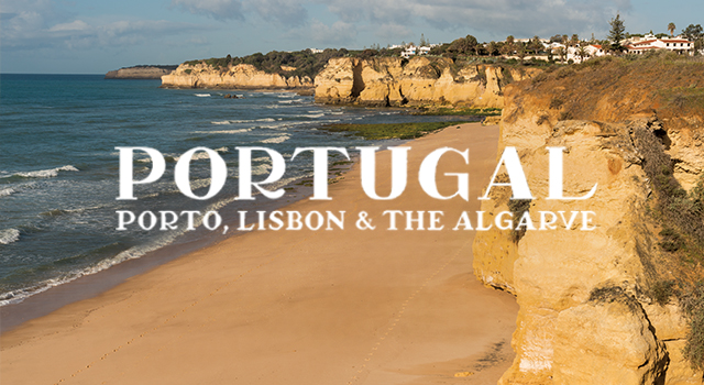 white text overlay on coast in the algarve