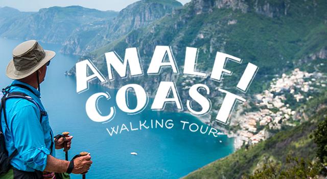 white text over man walking along amalfi coast