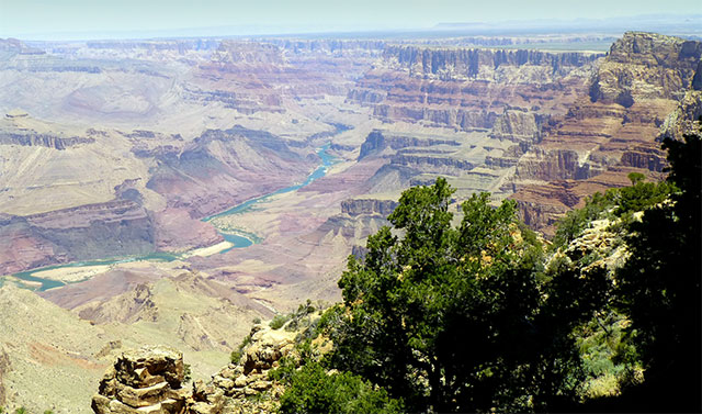 looking down at the river in the grand canyon
