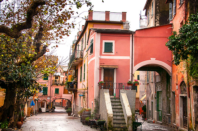 pink buildings on cobblestone street in monterosso italy